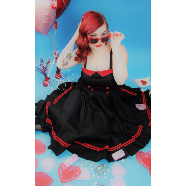 Piper Swing Dress black with red accents