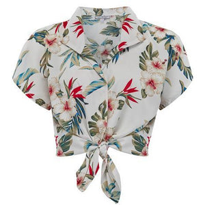 "Tuck in or Tie Up ""Maria"" Blouse in Hawaiian Print, Vintage 1950s Tiki Inspired Style, New for SS19"