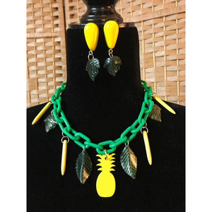 Handmade -Tropical-Pineapple Necklace and Earrings Set
