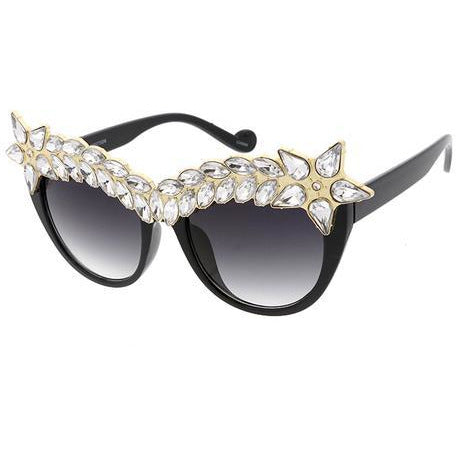 Large Cateye Sunglasses with Rhinestone Crown
