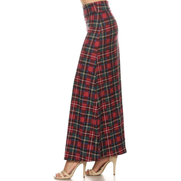 Buttery Soft Modish Plaid Maxi Skirt Red