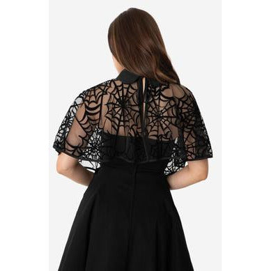 uv clarke capelet black spiderweb caplet