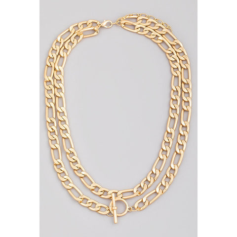 Layered Bulky Flat Chain Necklace