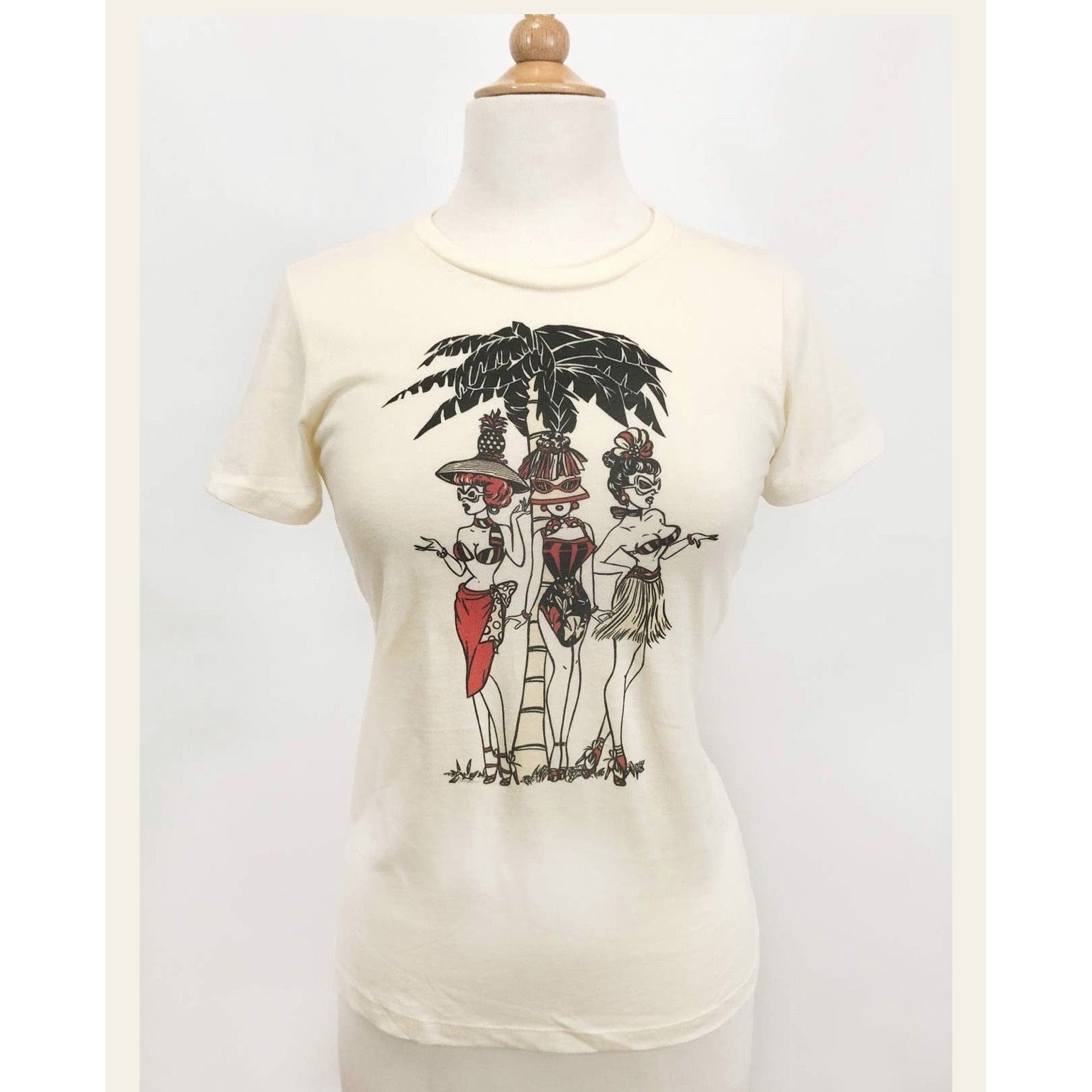 TROPICAL HEAT WAVE T-SHIRT IN IVORY BY NATHALIE RATTNER