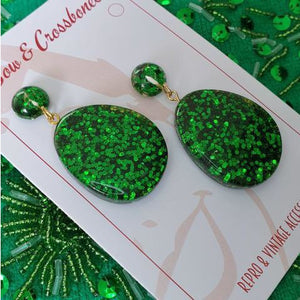 Suzy Tear Drop Lucite Confetti Stud Earrings - Green
