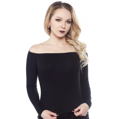 SOURPUSS OFF THE SHOULDER TOP BLACK