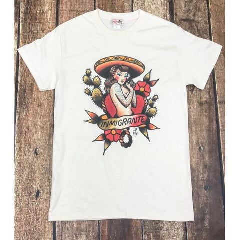 Inmigrante Tshirt Men's in Natural design by Howlin' Wolf Tattoo