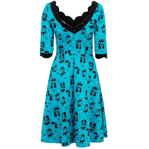 Katnis Blue Flared Cat Dress