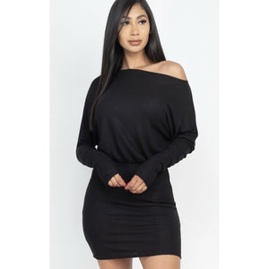 Off the shoulder mini dress- Black
