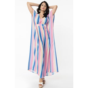 1970s Multicolor Stripe Burton Caftan Dress