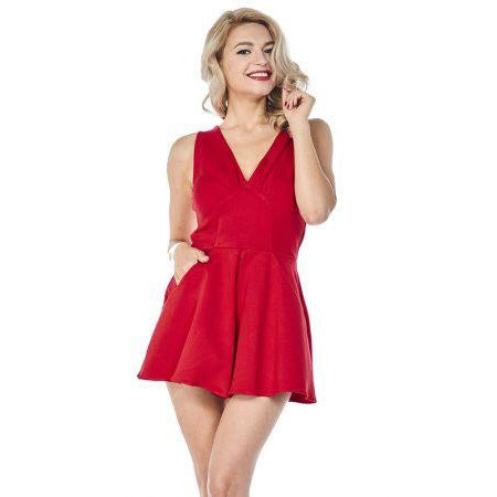 Bettie Page – Sweetheart Romper Red