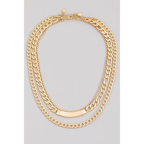 Layered Flat Curb Chain Necklace