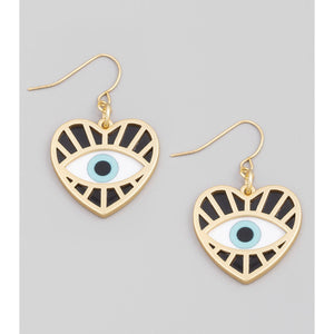 Evil Eye Heart Drop Earrings