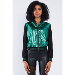 Shiny Green 1980's Inspired Metallic Long Sleeve Bomber Jacket