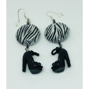 Barbie inspired animal print, stiletto earrings