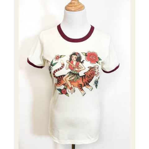 ALOHA TIGER RINGER T-SHIRT IN NATURAL/MAROON