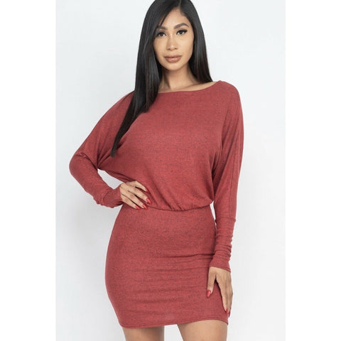 Off the shoulder mini dress- Rust
