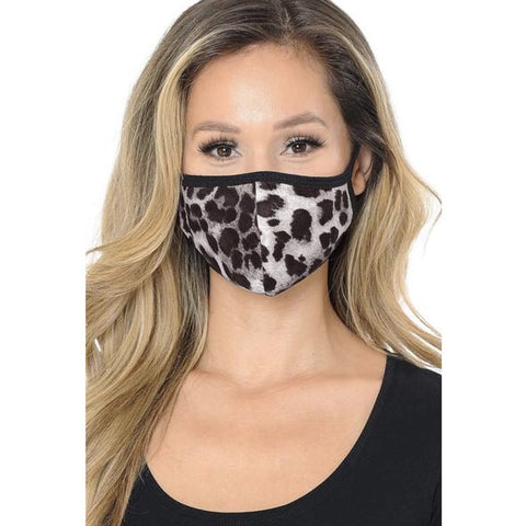 Soft Leopard Face Mask Black