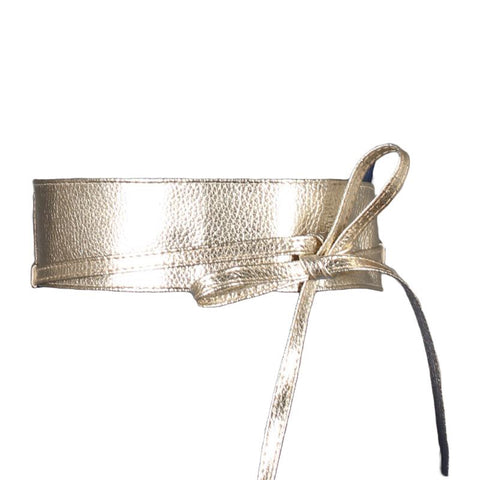 Kissing Charlie – Wide Wrap Tie Belt Gold