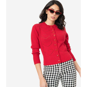 Regina Red Hearts Cardigan