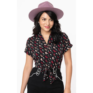 Shirley Crop Top Black/cowboy print