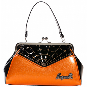 SOURPUSS SPIDERWEB BACKSEAT BABY PURSE BLK/ORG