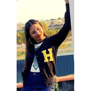 Letterman's Sweater - Navy (letter H)