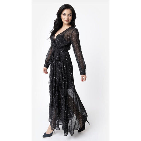 Unique Vintage Black & Silver Long Sleeve Farrah Maxi Dress