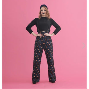 Rosie Blue Print- High Waisted Trousers.