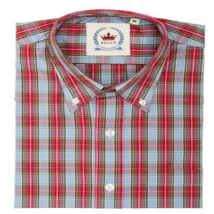 Mens Sky Blue and Red Check Shirt