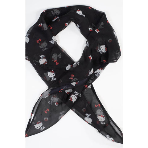 Hello Kitty x Unique Vintage Black Kitty Print Hair Scarf