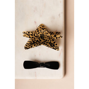 Cheetah Print Star Shaped Butterfly Clip With Black Bow Barrette
