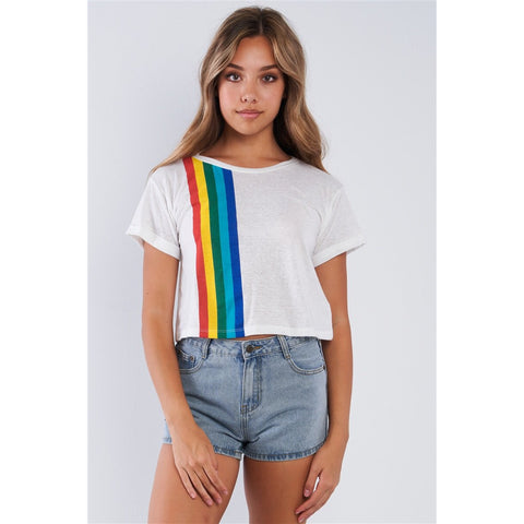 White rainbow graphic Tee