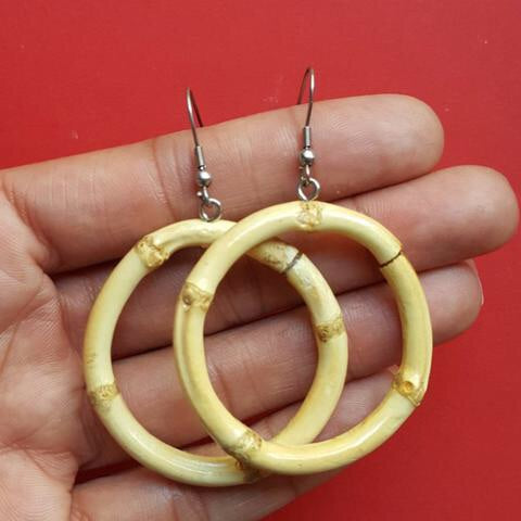 Tiki bamboo hoop earrings - Small round