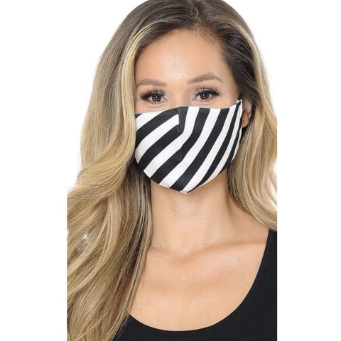 Black and white stripes face mask