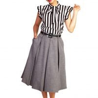 GRACIE BOX PLEAT SKIRT WITH POCKETS