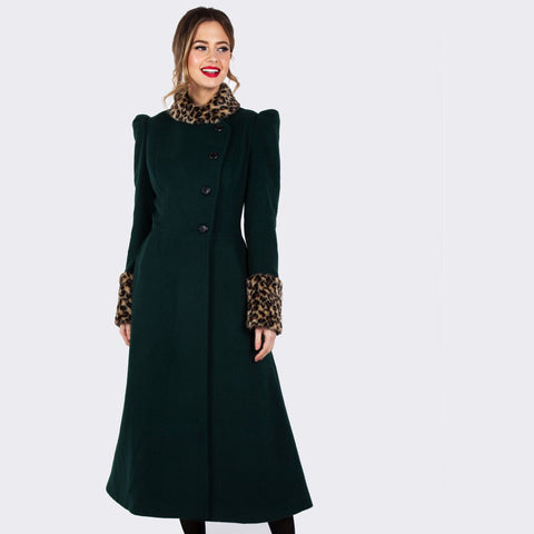 Emerald green long coat with removable leopard fur