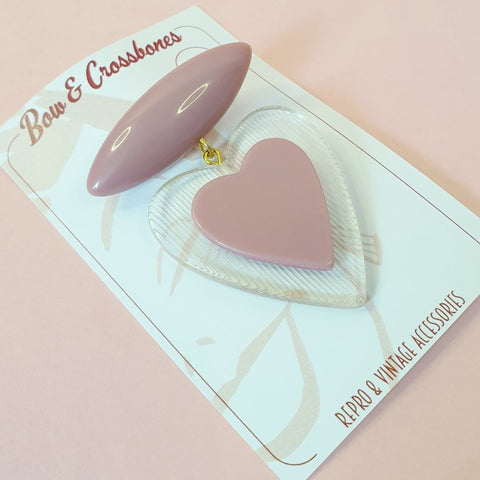 Belinda Bakelite Reproduction Love Heart Brooch - Dusty Pink
