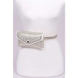 Studded pouch and belt combo- white