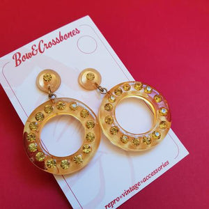 Rita diamanté hoop earrings - Gold * Last Chance! *
