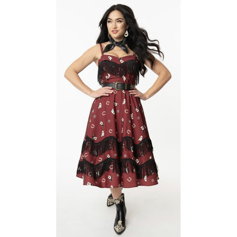 Burgundy Cowgirl Print Girlie Swing Dress