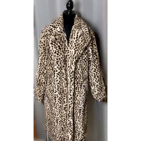 Mid length faux fur leopard jacket