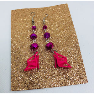 Hot pink Barbie inspired dangle stiletto earrings