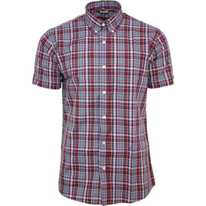 Mens Burgundy tartan-check-short-sleeved-shirt-mod-skin-retro-indie-60s-