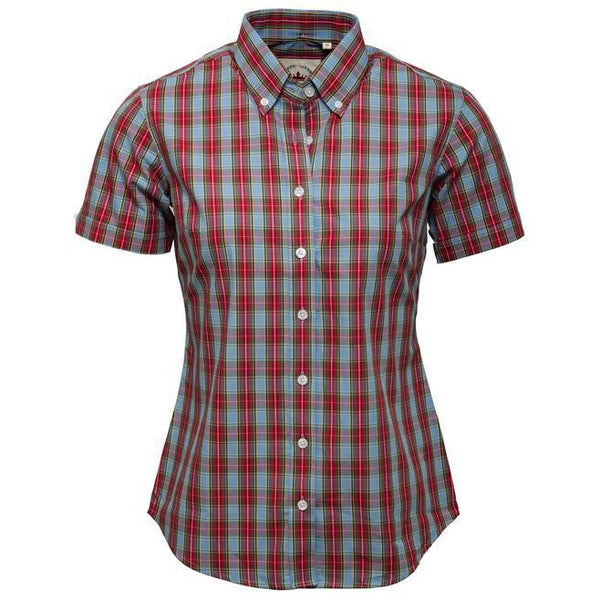 Ladies Sky blue and Red check shirt
