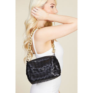 Chunky gold chain strap-Basket Weave Strap Crossbody