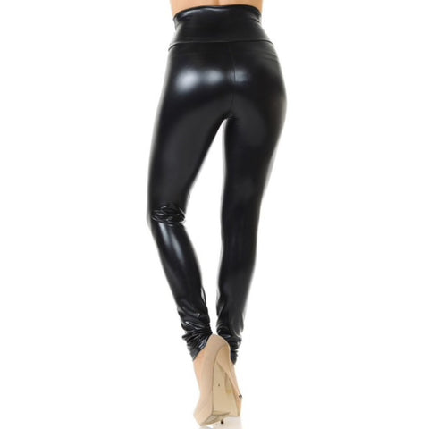 Shiny Black Plus Size Faux leather Leggings
