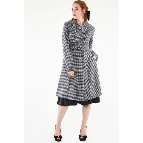 Margaret Houndstooth coat-bow detail coat