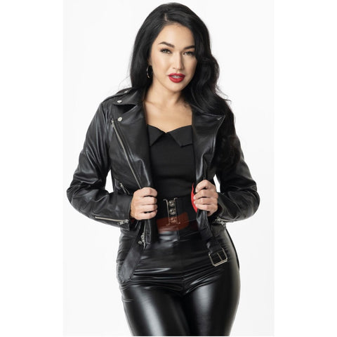 Grease x Unique Vintage Black Vegan Leather Greaser Jacket