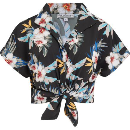 "Tuck in or Tie Up ""Maria"" Blouse in Black Hawaiian Print, Authentic 1950s Tiki Style"